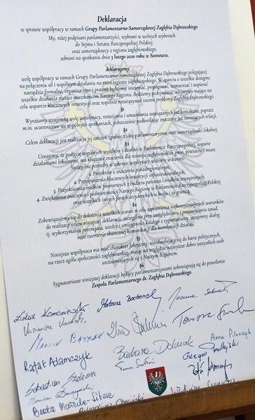 Treść deklaracji podpisanej przez parlamentarzystów i samorządowców