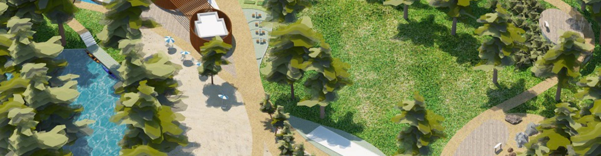 Wizualizacja obszaru przy Białej Przemszy (AMAYA Architekci)